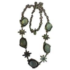 Vintage Art Glass Rhinestone Fashion Necklace