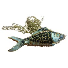 Large Vintage Chinese Export Gold Gilt Silver Enamel Articulated Fish Pendant Necklace