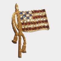 RARE Rafaelian Signed Vintage American Flag Red White Blue Rhinestone Pin Brooch