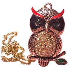 Magnificent Huge Rhinestone Enamel 3-D Owl Pendant Necklace