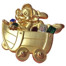 Disney Signed Rhinestone Dwarf Moving Wheels Pin Brooch