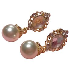 Rhinestones Crystal Faux Pearl Dangle Pierced Earrings