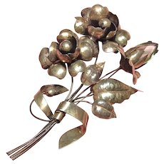 Magnificent Early Large Sterling Silver Wire Floral Bouquet Brooch Pin