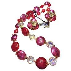 Pamela Signed Raspberry Sorbet Lucite Vintage Necklace Earrings Set
