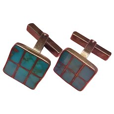 Native American Indian Zuni Turquoise Inlay Sterling Silver  Cufflinks