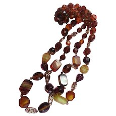 Western Germany Signed Two Strand Art Glass Beaded Necklace