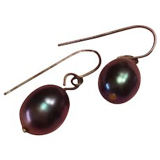 Black Tahitian Cultured Baroque Pearl Sterling Silver Dangle Drop Pierced Earrings