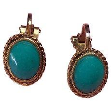 Turquoise Enamel Cabochon Clip Button Earrings