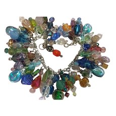 Massive Swarovski Crystal Murano Venetian Glass Cha Cha Dangle Charm Bracelet