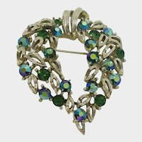 Gorgeous Lisner Signed Blue  Green Aurora Rhinestone Pin Brooch
