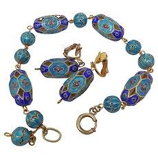 Chinese Sterling Silver Hollow Enamel Beaded Bracelet Earrings Set