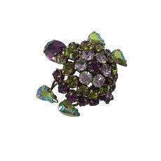 Schreiner Rhinestones Trembler Turtle Pin Brooch