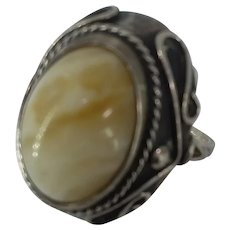 Bold Poland Arts & Crafts Sterling Silver Creamy Amber Ring