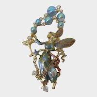 Kirks Folly Rhinestone Fairy Crystal Champagne Bubbles Dangle Pendant Brooch Pin