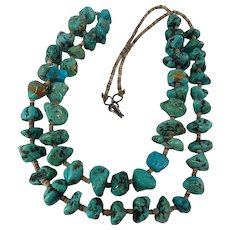 Amazing  AUTHENTIC Native American Indian Turquoise Chunk Heshi Heishi Necklace