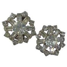 Elegant Large Multi Shape Rhinestone Clip Earrings