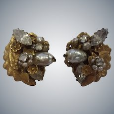 Robert Signed Designer Faux Pearl Rhinestone Earrings