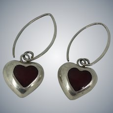 Mexican Sterling Silver Heart Red Heart Inlay Pierced Earrings