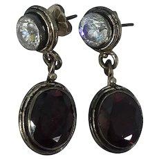 Sterling Silver Bright CZ Garnet Dangle Drop Pierced Earrings
