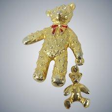 Teddy Bear Holding Toy Dangling Bear Brooch Pin