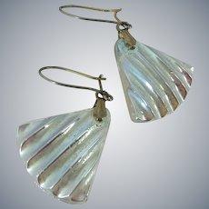 Iridescent Art Glass Gold Filled Dangle Drop Pierced Earrings