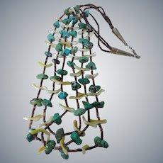Vintage Zuni Hand Carved Bird FETISH Three Strand Turquoise Heishi Beads Necklace