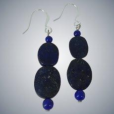 Lapis Lazuli Sterling Silver Pierced Drop Dangle Earrings