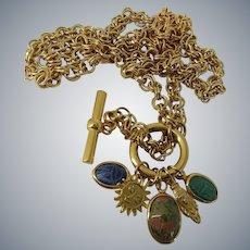 Alexis Lahellec Paris Egyptian Scarab Motif Charm Necklace