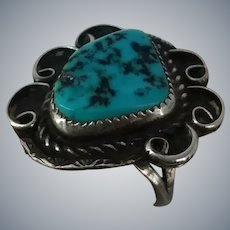 Native American Indian Bisbee Turquoise Sterling Silver Ring