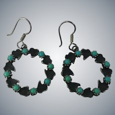 Vintage Fred Harvey Era Glass Turquoise Pierced Dangle Earrings