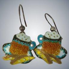 Vintage Chinese Enamel Sterling Silver Tea Time Pierced Earrings