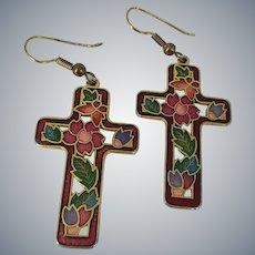 Cloisonne Enamel Flower Dangle Cross Earrings
