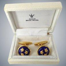 Sporrong & Co. Signed Gold Plated Blue Enamel Sweden Original Box Cuff Links