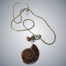Fossil Ammonite  Fossil Petosky Coral Michigan Sterling Silver Unique Pendant Necklace
