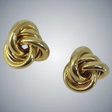 Unique Large Gold Tone Love Knot Pierced Earrings
