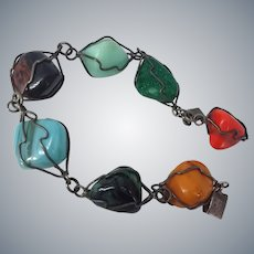 Mexico Colorful 7 Gems Sterling Silver Wire-Wrapped Stones Bracelet