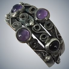 Unique Amethyst Cabochons Triple Band Ornate Sterling Silver Ring