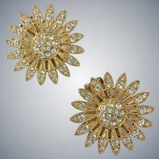 Rhinestone Encrusted Sunburst Clip Earrings
