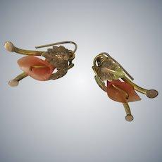 Victorian 10 Karat Gold  Faux Coral Pierced Earrings