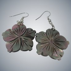 Beautiful Hand Carved Iridescent Mother Of Pearl Pierced Earrings