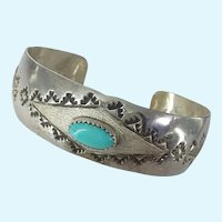 Native American Indian Turquoise Hand Stamped Cuff Unisex Bracelet