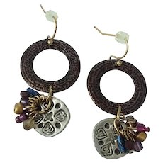 Mixed Metal Vintage Unique Unusual Brass Dangle Earrings