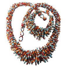 Multicolored African Beaded Maasai Necklace Bracelet Set