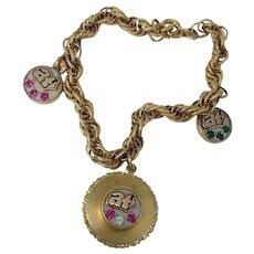 10 K Gold Charms on Gold Filled Charm Bracelet