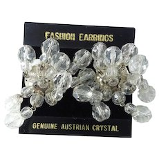 Fabulous Austrian Crystal Vintage Long Dangle Dangling Clip Chandelier Earrings
