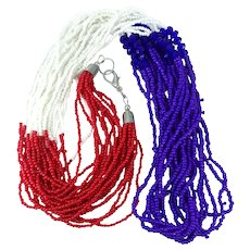 Vintage Ten Strand Red White Blue Glass Seed Beaded Necklace