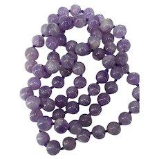 Vintage Translucent Genuine Amethyst Round Beads Necklace