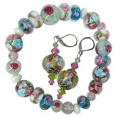 Lamp Work Flower Beads Swarovski Crystal Bracelet Dangle Drop Earrings Set