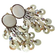 Vintage Chipita Joan Eagle Mother of Pearl Crystal Copper Dangle Beaded  Clip Earrings
