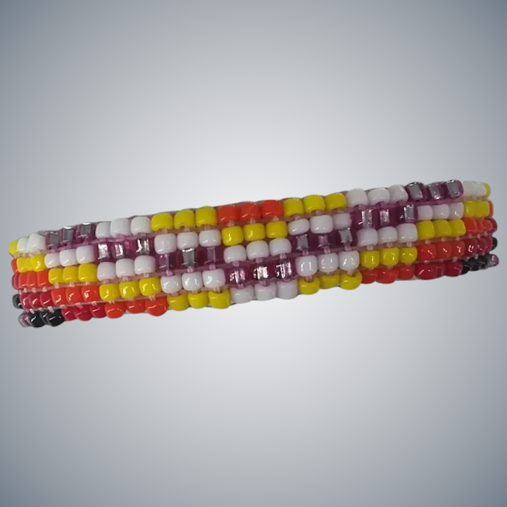 Awesome Native American Indian Beaded On Leather Cuff Baby Bracelet